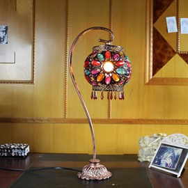 Retro European Bohemian Boho Multi-Color Floral Table Lamp with Iron Stand