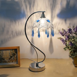 Creative Bohemian Decorative Umbrella Design Crystal Tassel Bedside Table Lamp