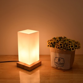 White Rectangle Cube 1 Light Source Table Lamp