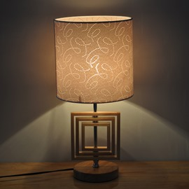 7.87×16.54in White Shade with Flowers Printings and Wooden Base 1 Bulb Table Lamp