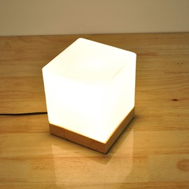 White Glass Cube with Wooden Base Table Lamp