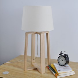13.78×27.56in White Cloth Shade and Wooden Base 1 Bulb Table Lamp