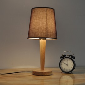 7.87×16.54in Brown/White Cloth Shade and Wooden Base 1 Bulb Table Lamp
