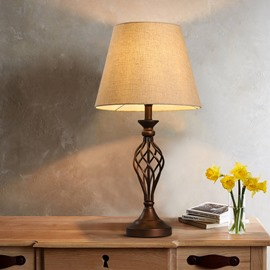 14.2×27.2in Cloth Shade and Wooden Base Simple Style 1 Bulb Table Lamp