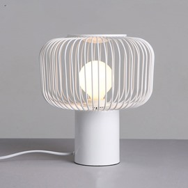 White Cage-Shaped Hardware Modern Design 1 Bulb Table Lamp