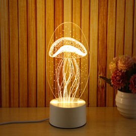 Transparent Jellyfish Pattern and Base PVC Waterproof and Energy-saving 1 Bulb Table Lamp