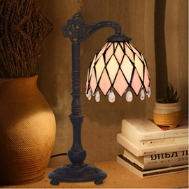 7 Inch American Style Simple Tiffany Desk Lamp Bedroom Study Office Decoration Pink Lamps