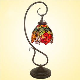 7 Inch and 40 W Tiffany Desktop Pendant Red Rose Cozy Colorful Glass Night Lamp