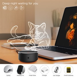 7 Colors USB Remote Control 3D Cat LED Night Table Light