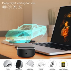 USB Remote Control Color Changing 3D Car Night Table Lamp