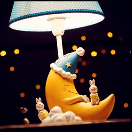 7.9*13.6in Cartoon Sleeping Moon Environmental Friendly Resin Material Kids Room Lamp