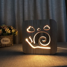 Natural Wooden Creative Snails Pattern Design Light for Kids