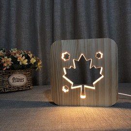 Natural Wooden Creative Maple Leaf Pattern Design Light for Kids