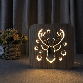Natural Wooden Creative Deer Head Pattern Design Light for Kids