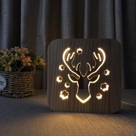 Natural Wooden Creative Deer Head Pattern Design Light for Kids