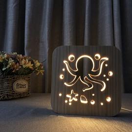 Natural Wooden Creative Octopus Pattern Design Light for Kids