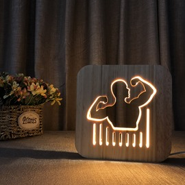 Natural Wooden Creative Bodybuilding Pattern Design Light for Kids