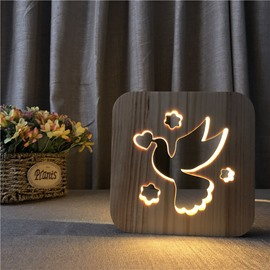 Natural Wooden Creative Pigeon Pattern Design Light for Kids