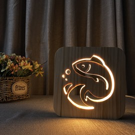 Natural Wooden Creative Fish Pattern Design Light for Kids