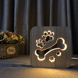 Natural Wooden Creative Bone Pattern Design Light for Kids