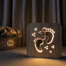 Creative Natural Wooden Foot Pattern Design Light for Kids