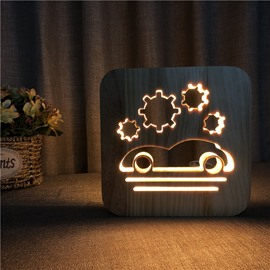 Natural Wooden Creative Car Pattern Design Light for Kids