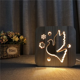 Natural Wooden Creative Peace Pigeon Pattern Design Light for Kids