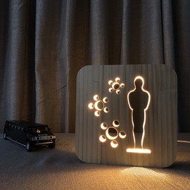 Natural Wooden Creative Oscar Pattern Design Light for Kids