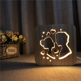 Natural Wooden Creative Kiss Pattern Design Light for Kids