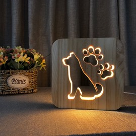 Natural Wooden Creative Dog Pattern Design Light for Kids