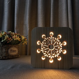 Natural Wooden Creative Snowflake Pattern Design Light for Kids