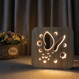 Creative Natural Wooden Butterfly Pattern Light for Kids