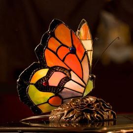Vintage European Butterfly Nightlight Tiffany Bedside Lamp