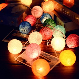 Colorful Handmade DIY Fabric Decorative 20 Bulbs Battery String LED Lights