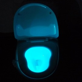Modern Creative Plastic 7 Colors Changing Battery Motion Activated Toilet Nightlight