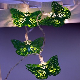 Green Iron Butterflies Shape 9.8 Feet Battery Decorative LED String Lights