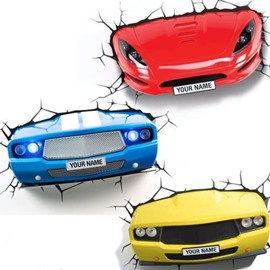Blue Yellow Sports Wall Sticker Home Decor Car Light