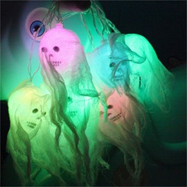 Bright Colored Skulls with Sheer Halloween Indoor and Outdoor Decorative LED Lights