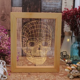 Concise and Modern 3D Skull Acrylic Creative Birthday Gift USB Night Lamp