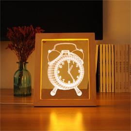 Creative and Modern Wonderful Clock Pine Frame Acrylic 3D LED Light Night