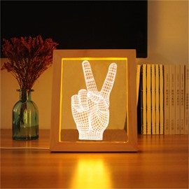 Wonderful Victory V-Sign Pine Frame Acrylic 3D LED Light Night