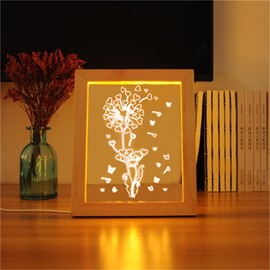 Wonderful and Lovely Flowers and Butterflies Pine Frame Acrylic 3D LED Light Night