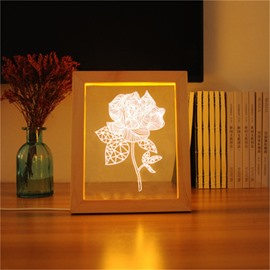 3D USB Rose Modern and Creative Romantic Acrylic LED Light Night