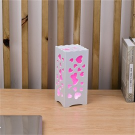 Concise and Modern North Wood-Plastic Hollowed-out Heart-Shaped European Style LED Lamp