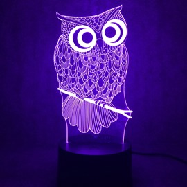 3D LED 7 Color Changing Cartoon Owl Table Lamp USB Night Light/Lamp