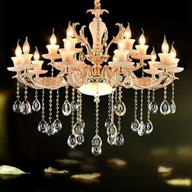 Gorgeous European Style Candlestick 2-Tier 15-Head Crystal Chandelier