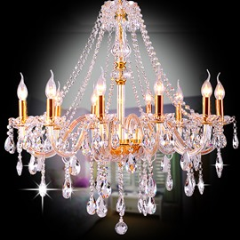 Stunning Luxury Golden 10-Head Crystal Chandelier