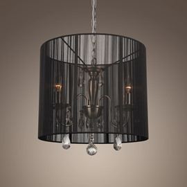 Black Shade Crystal 3 Lights Pendant Light