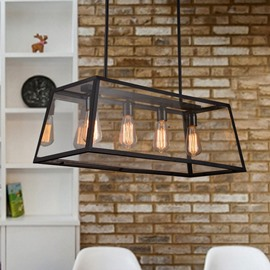 Retro Creative Decorative Coffee Bar Glass House 4-Head Pendant Lights