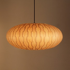 Unique Lantern Design Decorative Pattern Wood Pendant Light